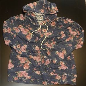Navy Floral Hoodie Style Long Long Sleeve Tee